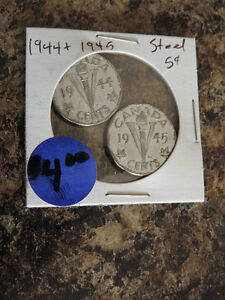 Canadian steel nickel coins 1944 and 1945