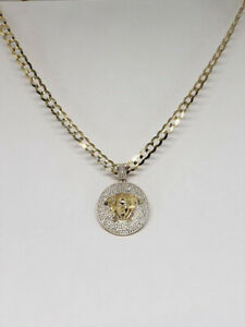 10/14k Yellow Gold Medusa Curb CZ Necklace