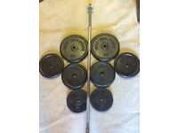 60kg CAST IRON WEIGHTS WITH A 5ft HEAVY DUTY BARBELL