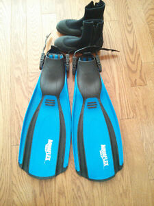 Scuba flippers and small neoprene booties