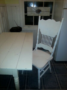 ANTIQUE FARM TABLE AND PRESED BACK CHAIR
