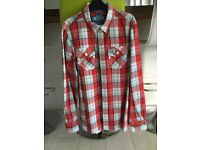 Red check superdry shirt size medium