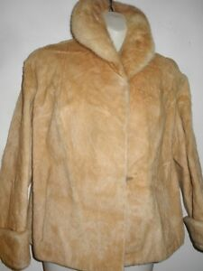 EATONS CANADA Sheepskin MINK JACKET BLONDE 12P Vintage Short Coat Coat M Petite FALL WINTER Canadian Retro Warm Real Fur