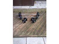 106.2KG of cast iron weight plates, barbell, EZ bar & 2 X dumbbells