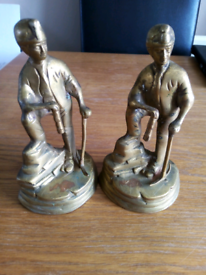 Pair of brass coal miners holding pick axe and Davey lamp figures