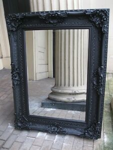 VERSACE-MATT-BLACK-ANTIQUE-ORNATE-LARGE-FRENCH-BEVELLED-WOOD-MIRROR-5FT-x-4FT