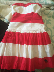 Coral and White strip summer dress. From Abercrombie