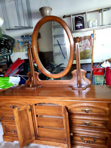 Oak Dresser With Suspended Oval Mirror