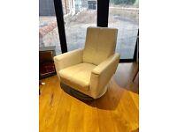 DFS Cream Leather Swivel Chair