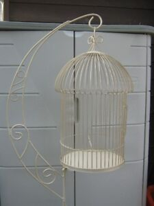 DECORATIVE METAL BIRD CAGE ON ADJUSTABLE SOLID METAL STAND