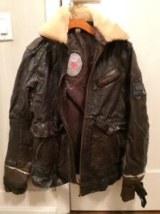 Men's stylish leather Diesel motorcycle jacket