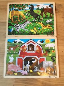 Two Melissa and doug wooden childrens jigsaws
