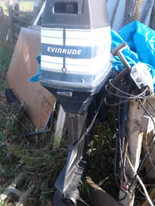 75hp evenrude outboard motor and throttle control runs GOOD has