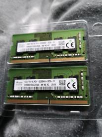 Laptop ram DDR4 2 x 4gb 3200mhz sodimm SK hynix korea 8gb
