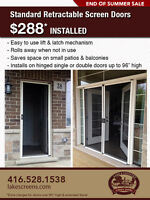 Retractable Screen Doors $288 Installed! END OF SUMMER SALE