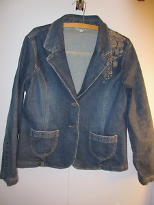 Jessica Denim Jean Jacket embroidered Size 16