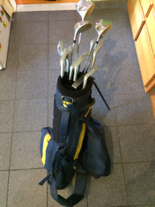 Set of 13 golf clubs with bag and trolley - perfect first set!!