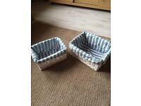 Set of two wicker baskets storage