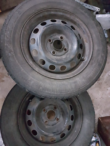 """4 steel rims 14"""" with tires"""