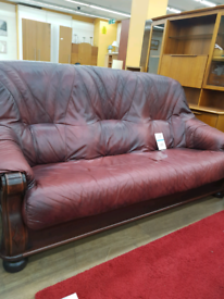 Wooden frame leather 3 seater sofa