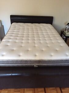 Pillow serta top grand queen mattress , box spring , leather bed