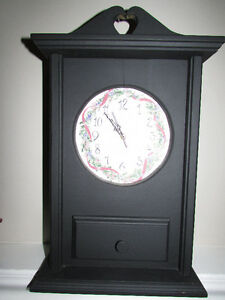 BLACK WOODEN MANTLE CLOCK WITH DRAWER