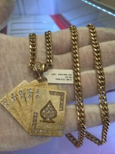 "10kt 28"" cuban link & royal flush pendant"
