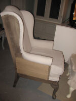 Restoration Hardware style deconstructed wing chair