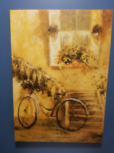 Canvas picture  bike and flowers scene