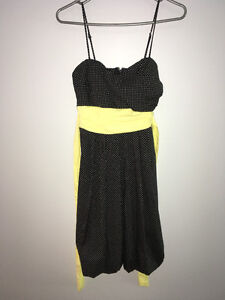 Black Dress with With White Polka Dots and Yellow Belt- Size 5/6