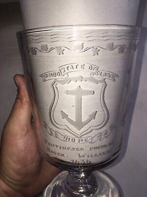 Antique Vernay Etched Glass Large Goblet Rhode Island Tercentenary Limited