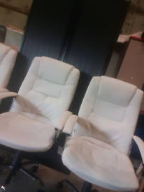 Cream leather high back office chair