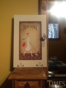 NYC wall ART with Hooks and Door Knob for hanging stuff