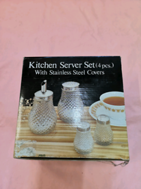 Kitchen 4 piece server set with stainless steel covers (BRAND NEW).