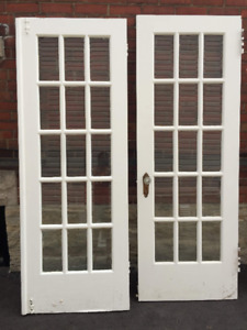 Vintage Solid Wood Doors with Glass Panels