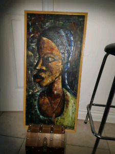 African painting & wooden chest