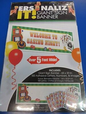 Casino Night Card Suits Jackpot Poker Party Decoration Plastic Sign Banner Kit](Jackpot Casino Parties)