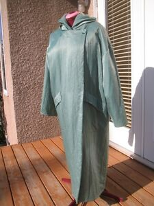 Shimmer green Linda Lundstrom La Parka long wool coat