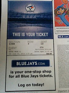 BLUE JAYS vs. ORIOLES Row 3 tickets. BELOW PURCHASE PRICE