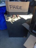 Free mirror table  and box of misc