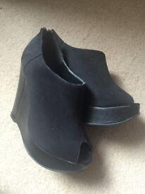 Black peeptoe wedge heels size 5