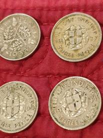 4 x silver three pences