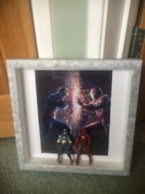 Hand decorated Captain America iron man frame