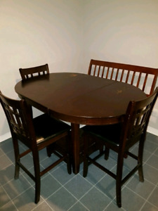 Dining table 3 chairs and bench
