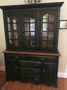 Forest Green Buffet and Hutch