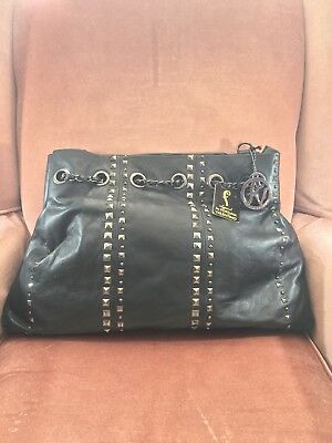 New Black Leather Studded Tote Fortuna Valentino