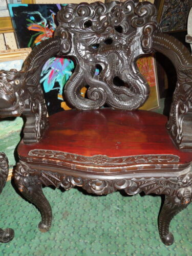 "Chinese, Carved, Dragon Chair and Table, 34"" H"