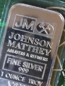 1 oz Johnson Matthey Fine Silver Bars ~ New 'A' Serials in Seals
