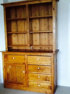 Antique Pine Two Piece Open Cupboard