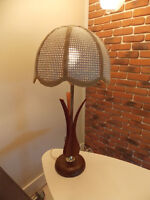 Vintage Mid Century Modern Lamp with Wood Accents